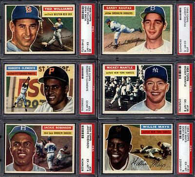 1956 Topps Baseball with Mickey Mantle, Jackie Robinson, Ted Williams, Sandy Koufax