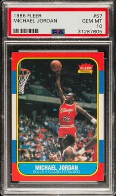1986 Fleer #57 Michael Jordan Rookie Card PSA 10