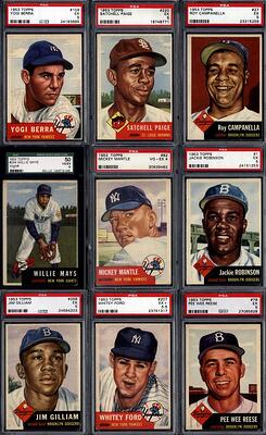 1953 Topps Baseball with Mickey Mantle, Willie Mays, Satchell Paige