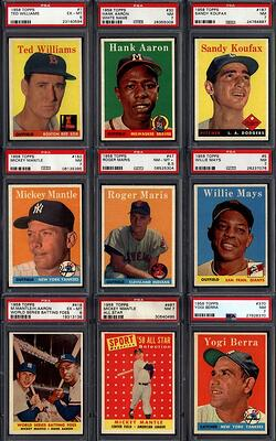 1958 Topps Baseball Set with Mickey Mantle, Ted Williams, Roberto Clemente