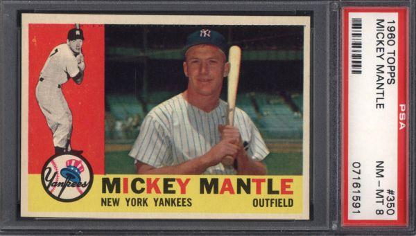 1960 Topps #350 Mickey Mantle PSA 8
